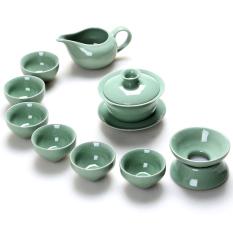 China Porcelain Ceramic Chinese Porcelain Kung Fu Tea Set, Ge Kiln Ceramic Teacup Ceramic Tea Pot, 10-pack (Lidded-cup) - Intl