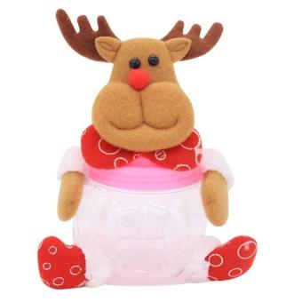 Christmas Decor Gift Plastic Sugar Saving Pot Biscuit Casual Food Storage Brown intl .