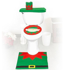Christmas Decoration New Happy Santa Snowman Toilet Seat Cover (Intl)
