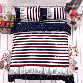 City Star Stripe Style Printing Cotton Bedding Set Duvet Cover + Flat / Fitted Sheet + Pillowcases Sets