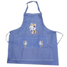 Cooking Work Bib Rabbit Lattice Pocket Cartoon Apron Dress Blue