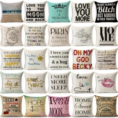 Cotton Linen Square Sofa Car Throw Pillow Cover size:45 - intl