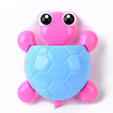 Creative Cute Cartoon Turtle Kids Wall Suction Cup Mount Toothbrush Toothpaste Holder Pencil Pen Phone Container Box Travel Organizer Plastic Pocket Storage Organizer - Blue - Intl