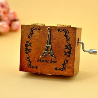 Creative retro wooden manual decoration music box(tower) - intl