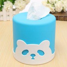 Cute Candy Colored Cylindrical Tissue Pumping Creative Desktop Panda Pissue Box Blue