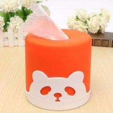 Cute Candy Colored Cylindrical Tissue Pumping Creative Desktop Panda Pissue Box Orange