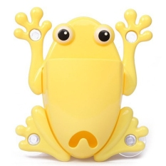 Cute Cartoon Frog Shaped Suction Cup Wall Mount Toothbrush Holder Container Box Organizer (Yellow)