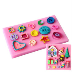 Cute DIY Christmas Tree And House Cake Molds And Beautiful Button Fondant Chocolate Silicone Mold Candy Molds Baking Decoration Tools - Intl