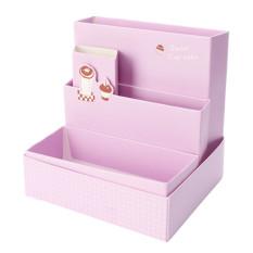 Cute DIY Paper Board Storage Box Desk Decor Stationery Cosmetic Makeup Organizer - Intl