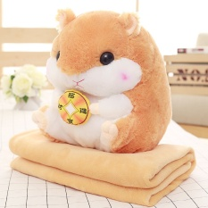 Cute little hamster doll multifunctional air conditioning blanket pillow quilt lunch guinea pig plush toys birthday gift - intl