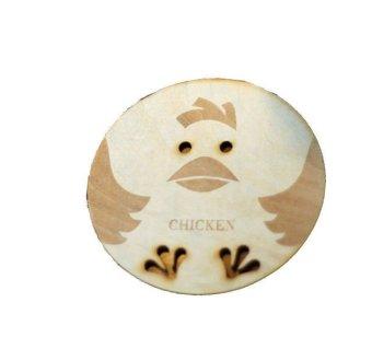 Decoku Wooden Coaster Alas Gelas Motif Ayam Lucu Set - 2 Buah