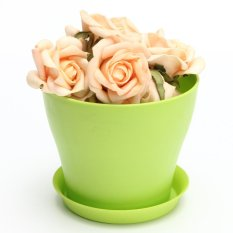 Decorative Flower Pots Gloss Plastic Plant Pots Planter Saucer Tray Green - Intl