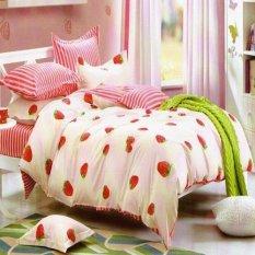 Depo Sprei Dan Bed Cover Strawberry Line Katun Taiwan King Size