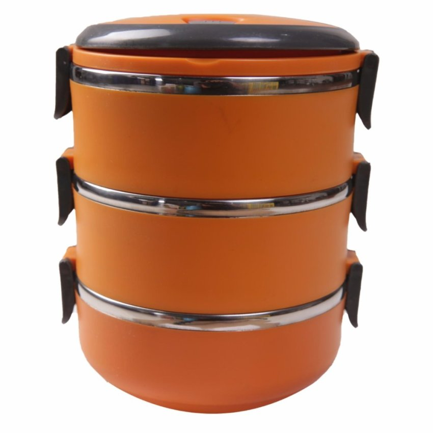 Dinemate Eco Lunch Box Stainless Steel Rantang 3 Susun - Orange