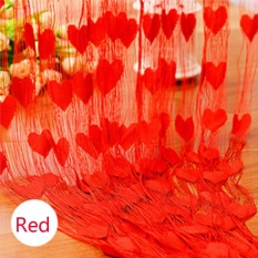 Diotem Heart-shaped Wedding Curtain Decoration Curtain Line Curtain - Red - intl