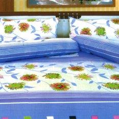 Dixon Set Sprei Dewasa 100% Katun 180x200 Blue Flower -Multicolor