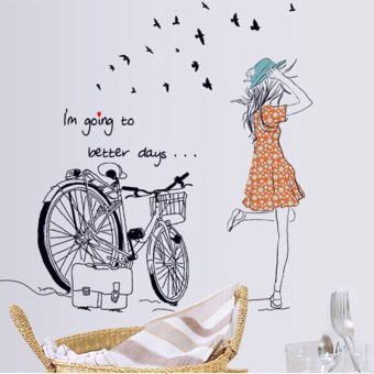 DIY Home Decor Wall Sticker Beauty Bicycle Girl Removable Vinyl Wall Sticker Decal Mural Art Post