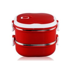 Double Layer Stainless Steel Lunch Box with Handle (Red)