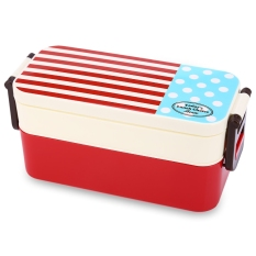 Double Tier Japan Style Navy Pattern Portable Bento Lunch Box PP Microwave Oven Tableware Food Case (RED)