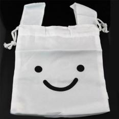 Drawstring Bags Ninja Rabbit Cute Travel Lunch Bag Cosmetic Bag (White)