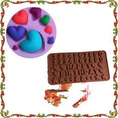 English Letters HAPPY BIRTHDAY Numbers Silicone Chocolate Baking Mould And Love Heart Shaped Cake Decorating Tools - Intl