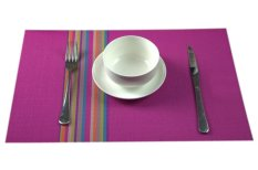 Eozy Rainbow PVC Insulation Table Place Mats Cup Coasters 45*30 Kitchen Mats Set Of 4 (Rose Red) (Intl)