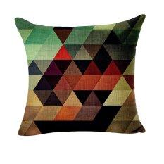 Fang Fang Simplicity Geometry Linen Cotton Pillow Cover Throw Pillow Case Sofa Home Decor (Black + Green + Orange)