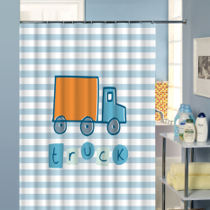 Fashion Bathroom Horizontal stripes Shower Curtains Waterproof Moldproof Polyester Fabric Bath Curtain Truck Printed with 12 Hooks W180CM X H180CM