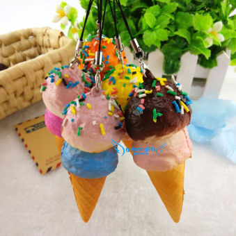 Five Star Store Cute Yummy Ice cream Kawaii Squishy Bread Keychain Bag Phone Charm Strap Pendant New - intl
