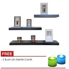 Floating Shelves 1 Set Rak Dinding Unik Minimalis Isi 3 Buah + Free 2 Buah Lampu Lilin Elektrik Cantik
