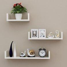 Floating Shelves - 3Pcs Rak Dinding Minimalis Model U Elegan 40cm 30cm 20cm