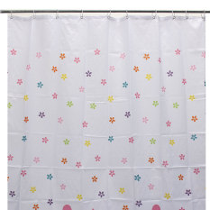Colourful Flowers Polyester Fibre Waterproof Bathroom Shower Curtain + Hooks (Intl)