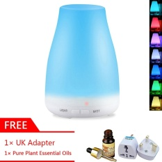 GearUshop Ultrasonic Waterless Auto Shut-off 100ml Diffuser Aroma Cool Mist Humidifier 7 Colors Changing LED Light Lamp + GIFT 10ml Plant Essential Oil + UK Adapter - intl