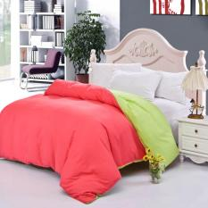 GoGoLife Cotton Two-tone All Size Fitted Quilt Cover-40# Red And Green