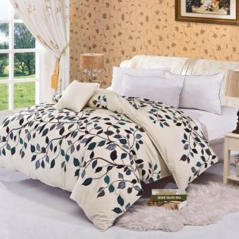 GoGoLife Rukan Ukuran Selimut Bed Cover Katun Pengamplasan Solidcolor penutup 3# Daun