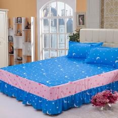 GoGoLife Single / Full / Queen / King Size High Quality Cotton Bed Skirt Bedsheets Bed Cover Star&Moon-11# Blue