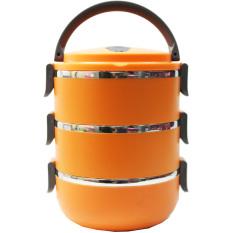 Gokea Lunch Box Rantang Susun Stainless Steel Bulat 3 Susun - Orange