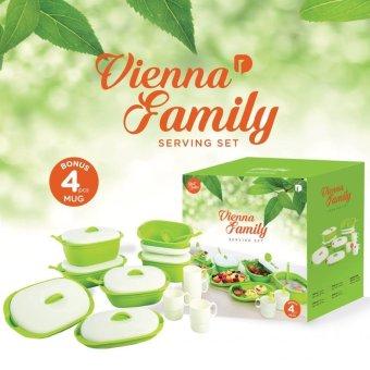 Green Leaf - [NEW] Vienna Family Set Of 7 Wadah Saji Dengan Tutup, 5 Sendok Sayur + Free 4 Gelas - Hijau (Packaging Baru Full Color)