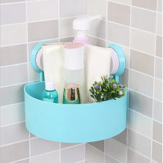 Grosir Station Bathroom Corner Shelf Suction Rack Organizer Cup Storage Shower Wall Basket - Biru