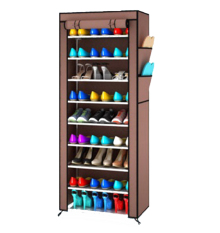 Grosir Station Rak Sepatu Portable 10 Susun / shoe rack with dust cover - Coklat