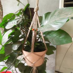 Handcrafted Macrame Jute Cord Plant Basket Hanger Pot Holder Hanging With Beads - intl
