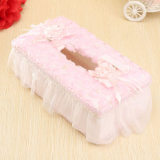Handmade Lace Rose Tissue Box Case Holder Home Paper Cover Container Home Decor Pink
