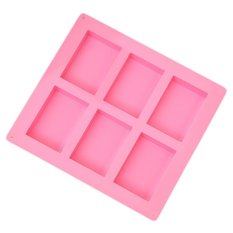 HAOFEI 6 Cavities Rectangle Silicone Cake Baking Mold Cake Pan Muffin Cups Handmade Soap Moulds Biscuit Chocolate Ice Cube Tray DIY Mold - Pink
