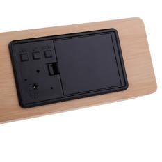 HKS Rectangle Wooden Digital Wood Alarm Clock Calendar with White LED Light (Intl)