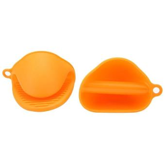 HL 1 Pair (2Pc) Silicone Pot Holder Oven Mini Mitt Cookingpinch Grips Heat Resistant, Orange