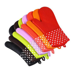 HL 1 PCS Silicone Potholders Oven Mitts Heat Resistant With Quiltedcotton Lining Kitchen Gloves (Purple)