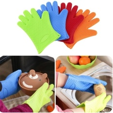 HL 1Pc Heat Resistant Silicone Glove Cooking Baking Bbq Oven Potholder Mitt Kitchen (Color Orange)