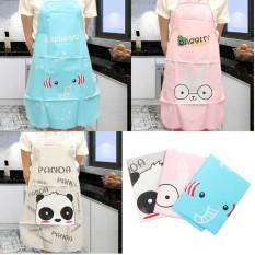 HL Cartoon Women Front Kitchen Apron Dress Cooking Bib (Pink)