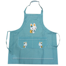 HL Cooking Work Bib Rabbit Lattice Pocket Cartoon Apron Dress Green