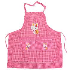 HL Cooking Work Bib Rabbit Lattice Pocket Cartoon Apron Dress Pink